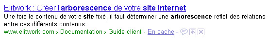 """Capture d'écran du résultat """"arborescence site internet"""""""