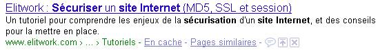 """Capture d'écran pour """"sécuriser site internet"""""""