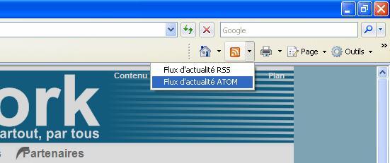 Capture d'écran d'IE7 sur un site avec Flux RSS